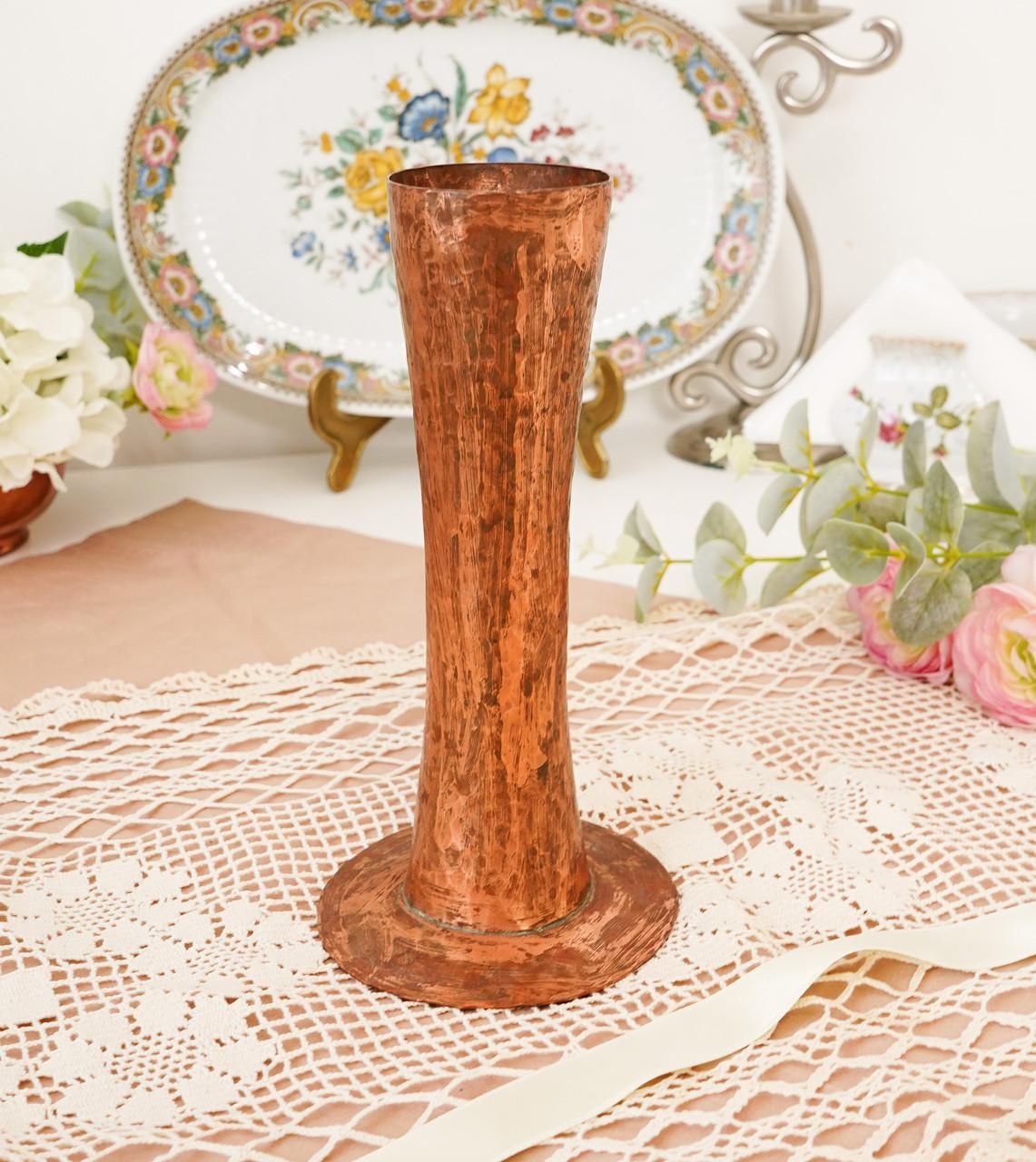 Старая медная ваза ручной работы, ваза из меди, Германия, 20 см