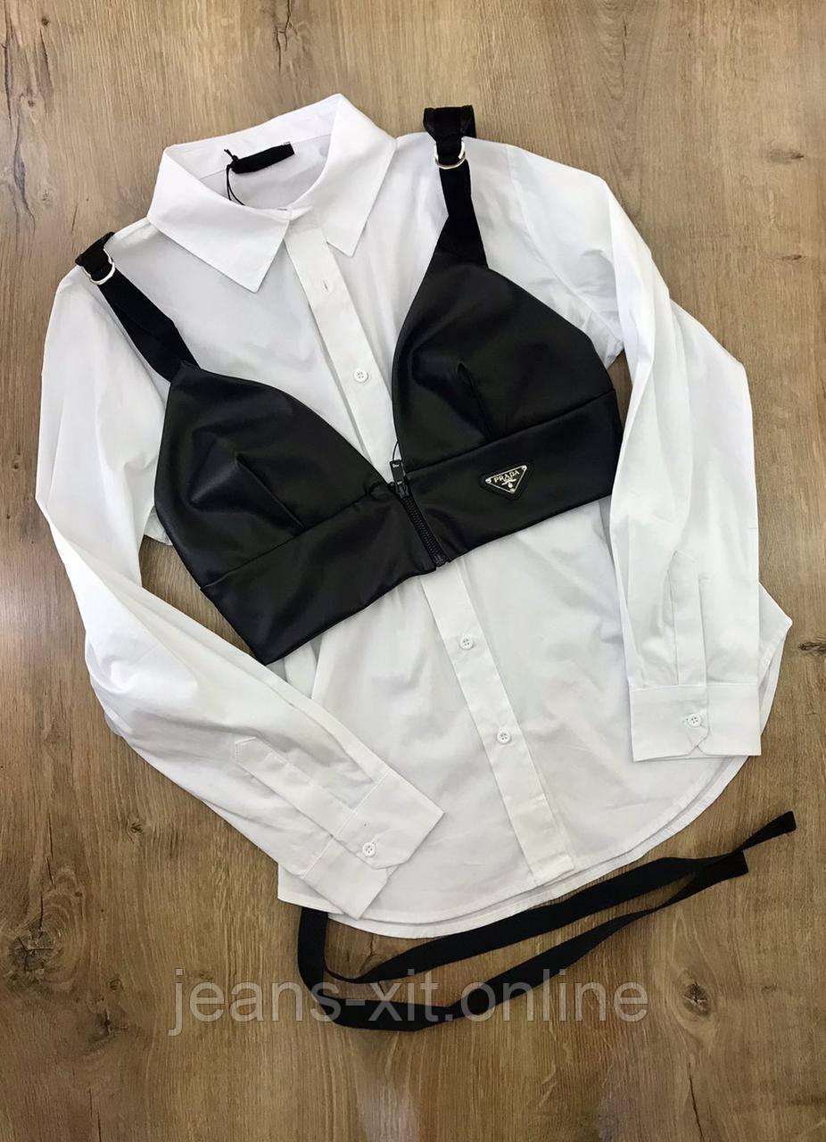 Рубашка жіноча L(р) біла 1505 Prada Туреччина Весна-D