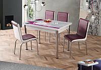 """Комплект кухонной мебели """"Лаванда"""" (стол ДСП, каленное стекло + 4 стула) Лидер, Турция"""