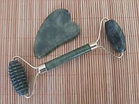 Набор массажер роллер для лица и тела плюс скребок Гуаша