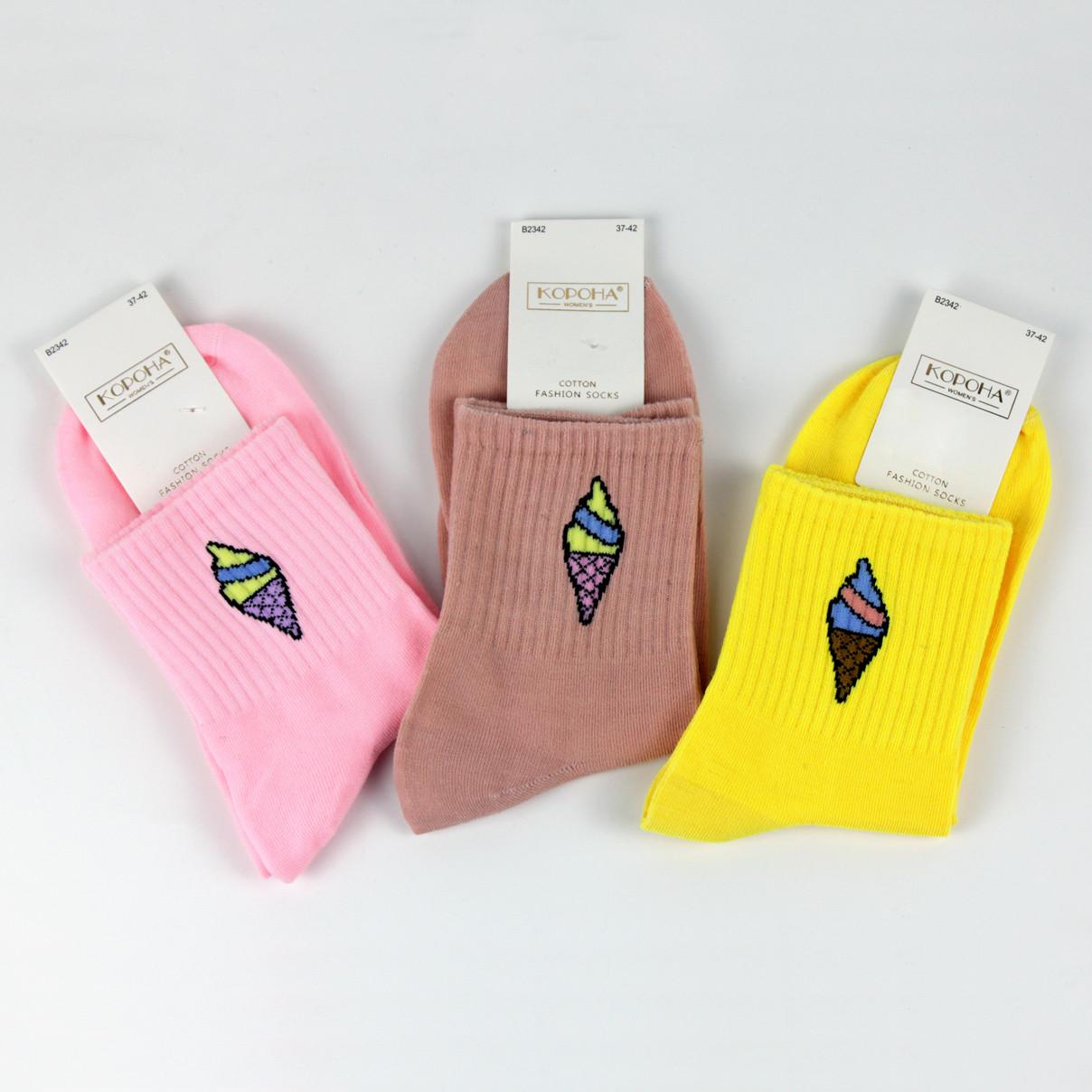 Носки женские с принтом мороженое цвета в ассорт. 37-42 р.