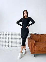 Женское стильное платье-миди,черного цвета
