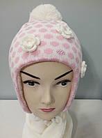 """Комплект вязаный шапка шарф зима """" Три цветка """" девочка."""