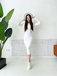 Женское стильное платье-миди,белого цвета