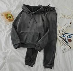Женский велюровый спортивный костюм с капюшоном , стильный модный черный графит 42-44, 44-46