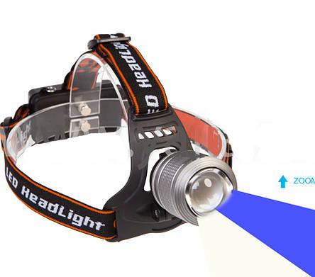 Фонaрь налобный WD-105, T6+синий, Zoom, фото 2