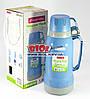 Термос 1,8л пластиковый со стеклянной колбой (цвет - голубой) + 2 чашки Kamille KM-2024-3