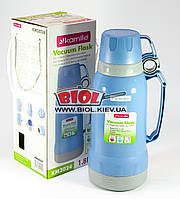 Термос 1,8л пластиковый со стеклянной колбой (цвет - голубой) + 2 чашки Kamille KM-2024-3, фото 1