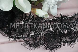 """Мереживо """"Французьке Квіти"""" чорного кольору 11 див. № 690-15 КБ"""
