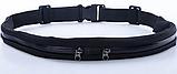 Сумка-чохол на пояс для бігу 2 кишені Чорна, фото 4