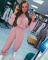 Жіночий модний спортивний костюм з укороченою кофтою з капюшоном та штани на гумці (Норма), фото 3