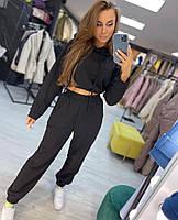 Жіночий модний спортивний костюм з укороченою кофтою з капюшоном та штани на гумці (Норма), фото 4