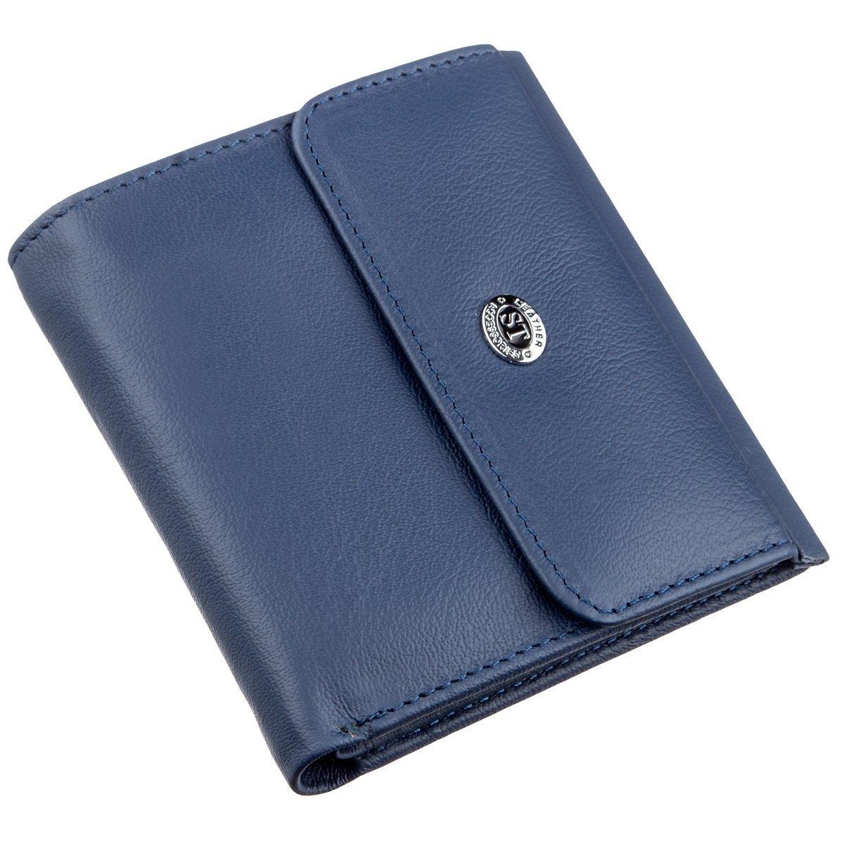 Компактный женский бумажник на кнопке ST Leather 18921 Синий