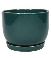 """Керамический горшок для цветов """"Конусний опуклый"""" 1.4л Rezon Смарагд P233"""