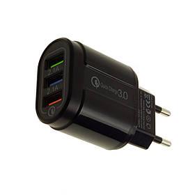 Адаптер швидкої зарядки на 3 USB порту, мережевий зарядний пристрій