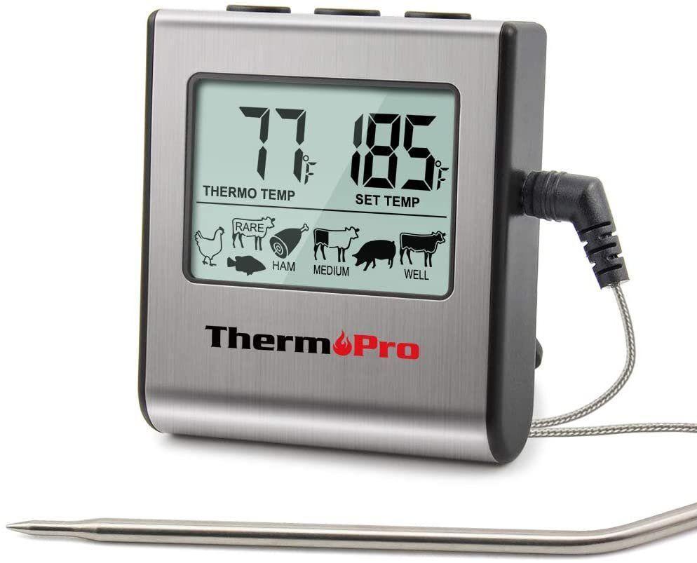 Термометр харчовий електронний для м'яса з щупом, великим ЖК-дисплеєм