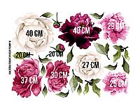 """Виниловая интерьерная наклейка Акварельные цветы пионов в цвете фуксия, """"M"""" от 25 до 40 см"""
