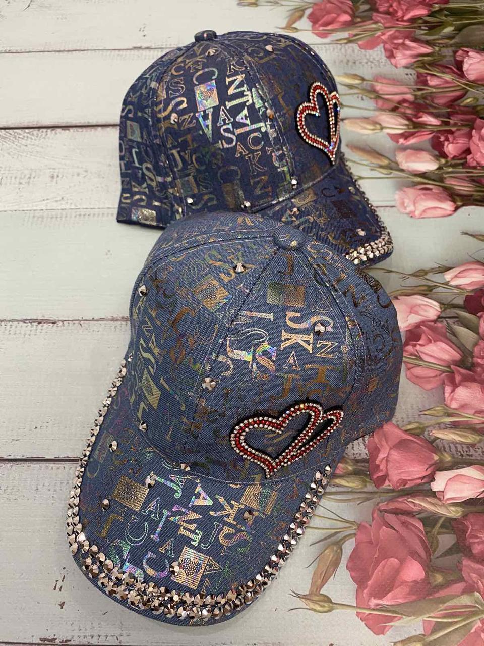 """Кепка дитяча для дівчаток джинсова """"Love"""" 54-55 см Колір вказуйте при замовленні"""