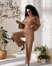 Костюм тройка кофта+шорты+брюки Капучино,  Модный женский спортивный костюм тройка