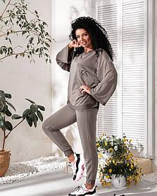 Прогулочный женский спортивный костюм тройка с шортами Серый, Стильный спортивный костюм женский модный
