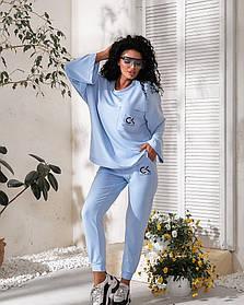 Прогулочный женский спортивный костюм тройка с шортами Голубой, Стильный спортивный костюм женский модный