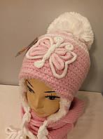 """Комплект вязаный подростковый шапка шарф """" Бабочка """" девочка."""