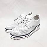 Туфлі жіночі літні з натуральної шкіри білі на шнурках, фото 2