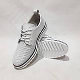 Туфлі жіночі літні з натуральної шкіри білі на шнурках, фото 3