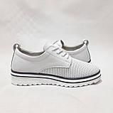 Туфлі жіночі літні з натуральної шкіри білі на шнурках, фото 5