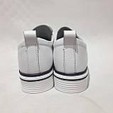 Туфлі жіночі літні з натуральної шкіри білі на шнурках, фото 8