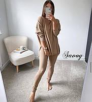 Легкий спортивний костюм жіночий з лосинами і подовженою кофтою (Норма), фото 2