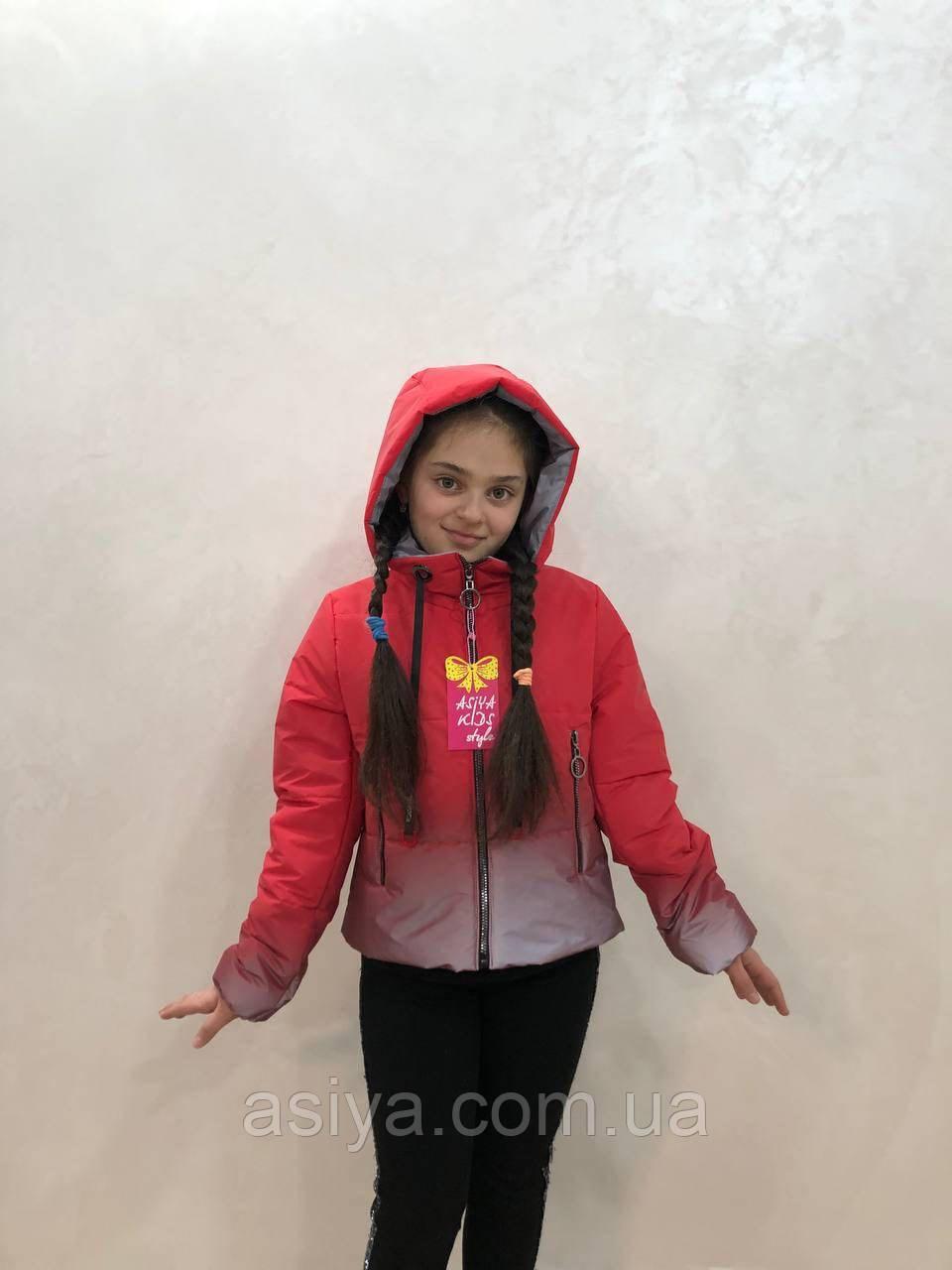 Весняна куртка веселка на дівчинку червоного кольору