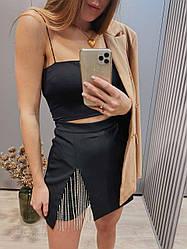 Женская стильная черная юбка с цепочками
