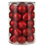 """Елочные шарики пластиковые, 34 шт., """"House of Seasons"""" комплект, цвет красный"""