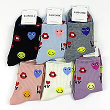 Шкарпетки жіночі з принтом сердечка кольору в ассорт. 37-42 р.