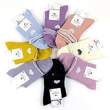 Шкарпетки жіночі однотонні c сердечком і люрексом колір в асорт. 37-42 р.