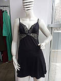 Комплект халат, сорочка чорного кольору, фото 3