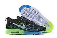 Кроссовки мужские Nike Air Max Flyknit 2015, кроссовки найк флайнит 2015, кроссовки черные, обувь оригинальная