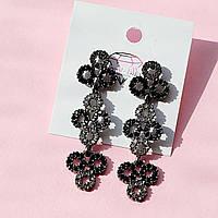 Серьги гвоздики длинные кружочки с черными и серыми камнями в черном металле