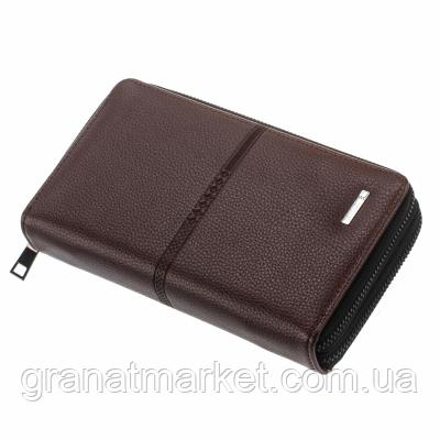 Мужской кошелек shaishi, коричневый, клатч, на змейке, 3 секции, отделение для карточек, эко кожа