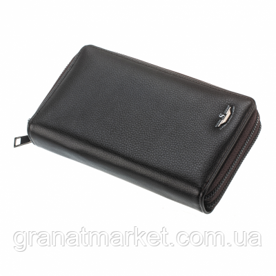 Чоловічий гаманець shaishi, темно коричневий , клатч, на змійці, 3 секції, відділення для карток, еко шкіра