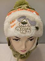 "Комплект вязаный детский шапка шарф "" Собачка "" мальчик."