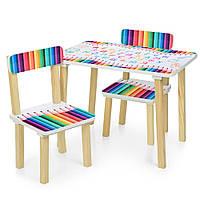 Детский столик 501-77 со стульчиками, карандаши