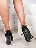 Жіночі замшеві туфлі на підборах чорні, фото 3