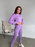 Жіночий модний спортивний костюм-трійка з двунити в кольорах (Норма), фото 2