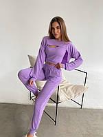 Жіночий модний спортивний костюм-трійка з двунити в кольорах (Норма), фото 7