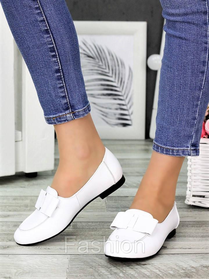 Туфли белые кожаные женские