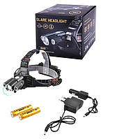 Налобный фонарь Police W602 (T6 + 2XP-E) 2x18650, 800lm