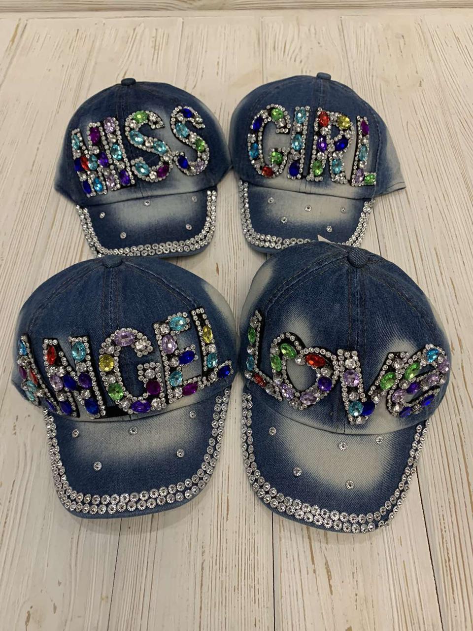 """Кепка дитяча для дівчаток джинсова """"Miss"""" 48-50 см Колір вказуйте при замовленні"""