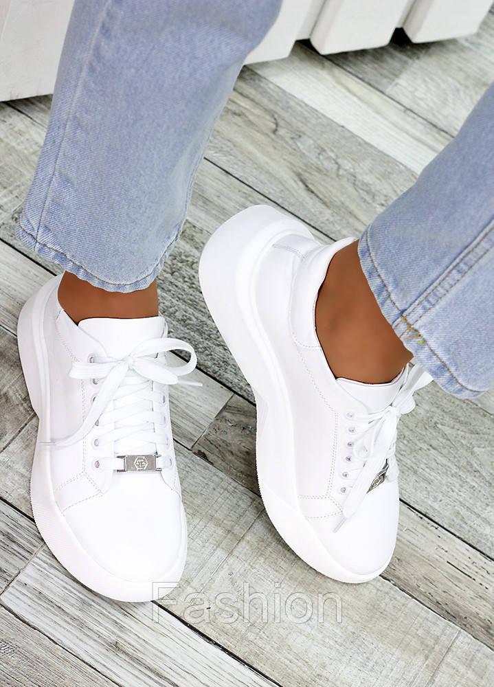 Кожаные белые кроссовки женские